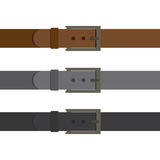 Three multi-colored belt insulated on white background. Fashionable modern accessory. Black gray and brown belt. Royalty Free Stock Image