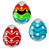 Three multi-colored Easter eggs. Three colorful Easter eggs, vector art illustration holiday Stock Photos