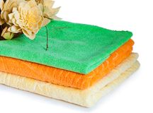 Three multi-colored towels Stock Photo