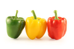 Three multi-coloured pepper Stock Image