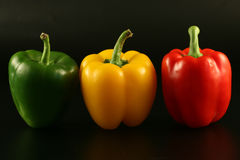 Three multi-coloured pepper Royalty Free Stock Image
