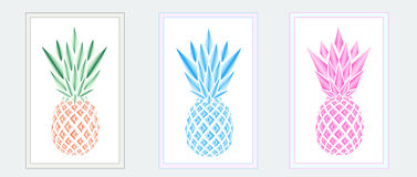 Three multicolor pineapples in the frames on the grey background. Horizontal royalty free illustration