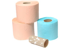 Three multicolor toilet rolls Royalty Free Stock Photo