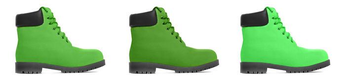 Three multicolored boot. Side view Stock Photography