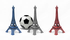 Three multicolored Eiffel Tower models, isolated on white backgr Stock Photo
