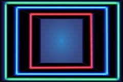 Three multicolored self-illuminated frames Stock Photography