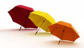 Three multicoloured umbrellas Royalty Free Stock Photography