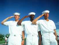 Three Multicultural Sailors Saluting. Ethnically diverse trio of sailors saluting Royalty Free Stock Image