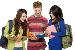Three multicultural student, studying together Royalty Free Stock Images