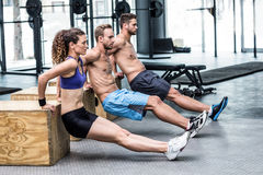 Three muscular athletes doing planking Stock Image