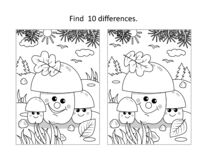Free Three Mushrooms Find The Differences Picture Puzzle And Coloring Page Royalty Free Stock Photography - 194487357