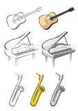 Three music instruments - guitar, piano, saxophone Royalty Free Stock Images