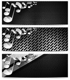 Three Musical Banners - N3 Royalty Free Stock Photo