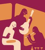 Three musicians. Play their instruments. Vector illustration Royalty Free Stock Photos