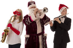 Three musicians play classical music Royalty Free Stock Image