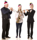 Three musicians play classical music Royalty Free Stock Photos