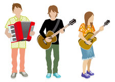 Three musicians Royalty Free Stock Photos
