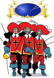 Three Musketeers. The illustration presents the three men, the Musketeers Stock Image