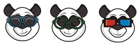 Three muzzle pandas in different glasses Stock Photography