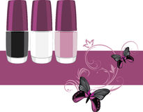 Three nail polish. Banner for design Royalty Free Stock Photos