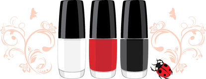 Three nail polish and ladybird with ornamental spr Royalty Free Stock Images