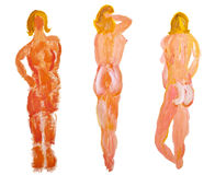 Three naked female model characters painting, by K Royalty Free Stock Photography