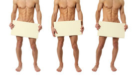 Free Three Naked Men Covering With A Blank Sign Stock Photo - 45648400