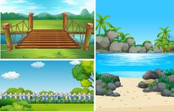 Three nature scenes at day time. Illustration Royalty Free Stock Image