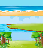 Three nature scenes at daytime. Illustration Stock Image