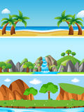 Three nature scenes with different landforms. Illustration Royalty Free Stock Photo