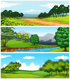Three nature scenes with fields and trees Royalty Free Stock Photo