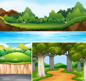 Three nature scenes with river and road Royalty Free Stock Photos