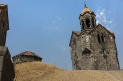 Three navesthe bell tower with the umbrella dome in the monaster Stock Photography