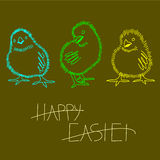 Three neon Easter chicken. Royalty Free Stock Images