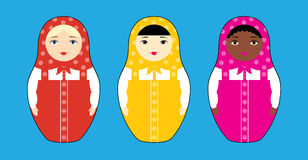 Three nesting dolls races Stock Image