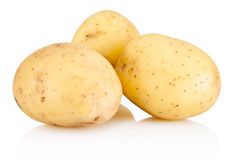 Three new potato isolated on white background Royalty Free Stock Photos