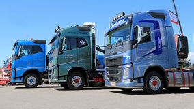 Three New Volvo Euro 6 FH Trucks in a Show Stock Images