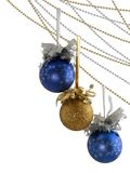 Three New Year Balls On Chains Stock Photography