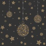 Three New Year Golden Ornaments with bubbles and stars. Merry Christmas Ornaments royalty free illustration