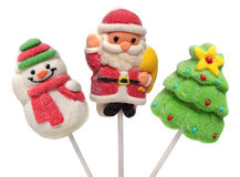 Three  new year sweets . Christmas tree, Santa Stock Photography