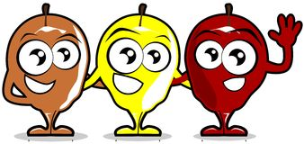 Three nice apples cartoon isolated Stock Photography