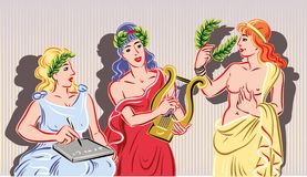 Three of the nine classical Muses.The muse. Three of the nine classical Muses Royalty Free Stock Photos