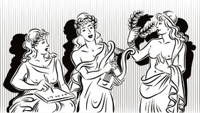 Three of the nine classical Muses.The muse. Of literature, the muse of music and the muse of the theater Royalty Free Stock Photography