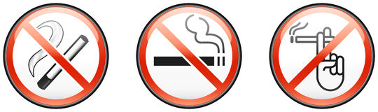 Three no smoking signs Stock Photo