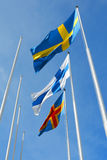 Three nordic flags Royalty Free Stock Photography