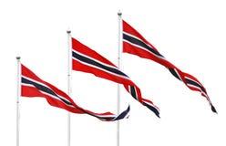 Free Three Norwegian Pennant Flags Royalty Free Stock Photos - 34137038