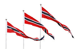 Three Norwegian pennant flags Royalty Free Stock Photos