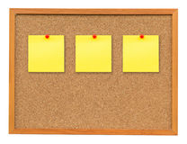 Three note paper on Cork board isolated on white with clipping p Royalty Free Stock Images