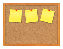 Three note paper on Cork board isolated on white Royalty Free Stock Photography