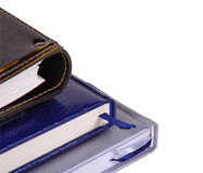 Three notebooks. Closeup isolated over white Stock Images